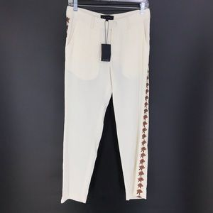 Laveer Sz 2 Roses Tux Pant Ivory Silk Cropped